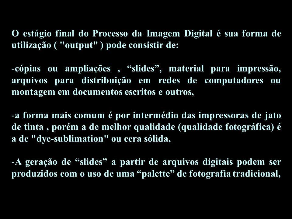 O estágio final do Processo da Imagem Digital é sua forma de utilização ( output ) pode consistir de: