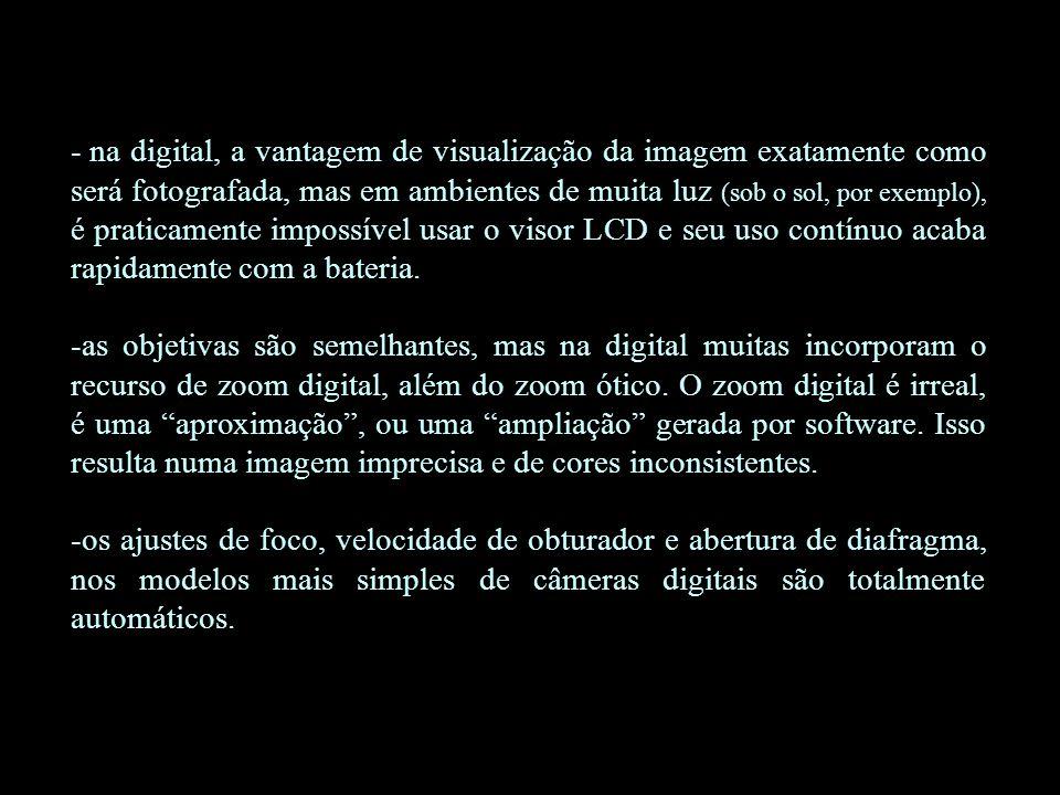 na digital, a vantagem de visualização da imagem exatamente como será fotografada, mas em ambientes de muita luz (sob o sol, por exemplo), é praticamente impossível usar o visor LCD e seu uso contínuo acaba rapidamente com a bateria.