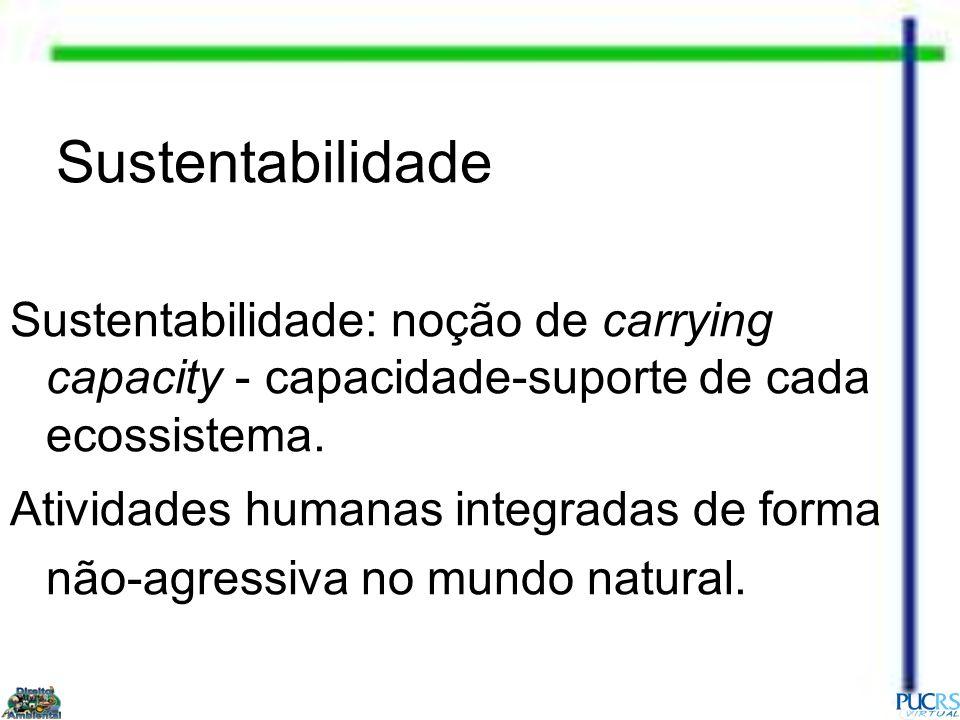 Sustentabilidade Sustentabilidade: noção de carrying capacity - capacidade-suporte de cada ecossistema.