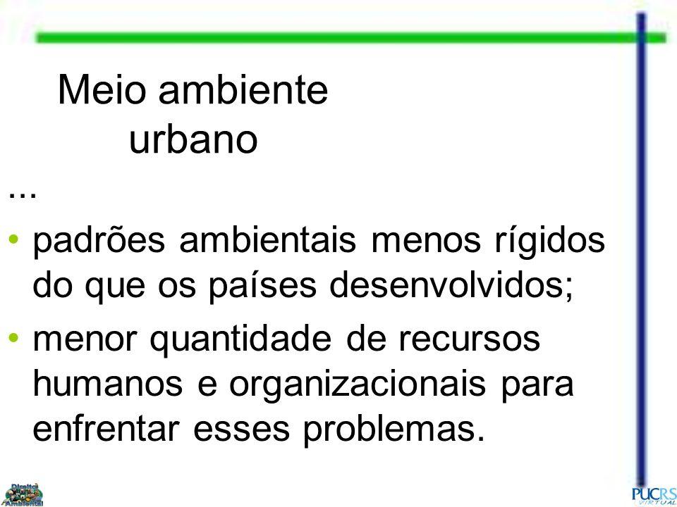 Meio ambiente urbano ... padrões ambientais menos rígidos do que os países desenvolvidos;