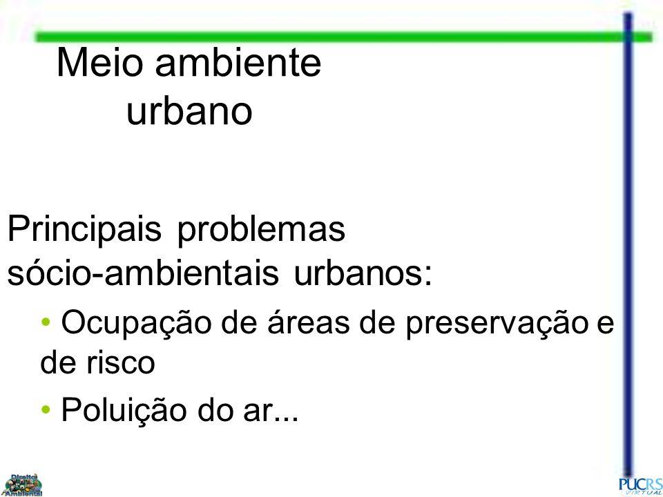 Meio ambiente urbano Principais problemas sócio-ambientais urbanos: