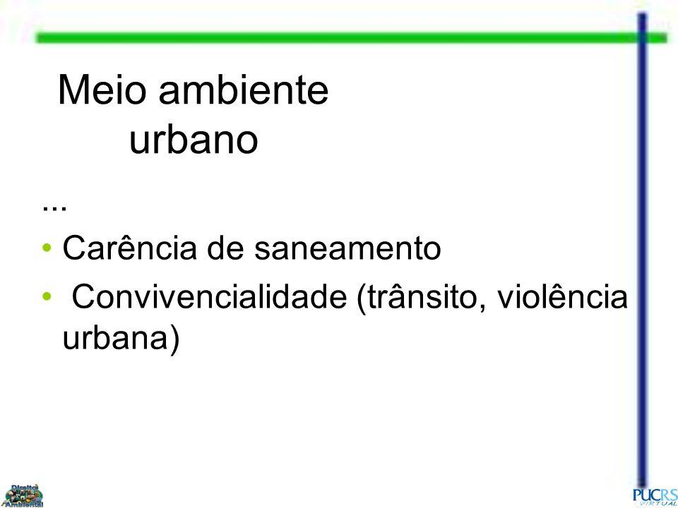 Meio ambiente urbano ... Carência de saneamento