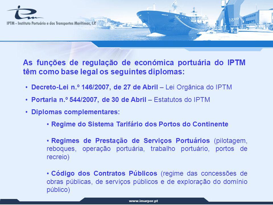 As funções de regulação de económica portuária do IPTM têm como base legal os seguintes diplomas: