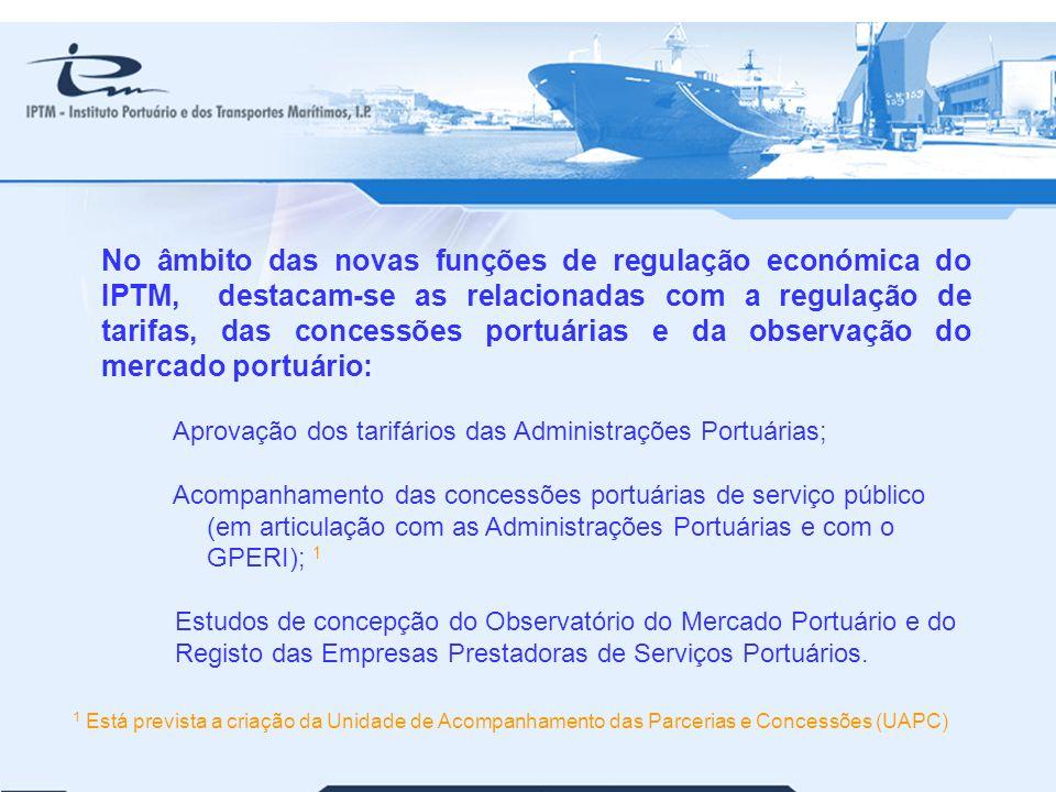 No âmbito das novas funções de regulação económica do IPTM, destacam-se as relacionadas com a regulação de tarifas, das concessões portuárias e da observação do mercado portuário: