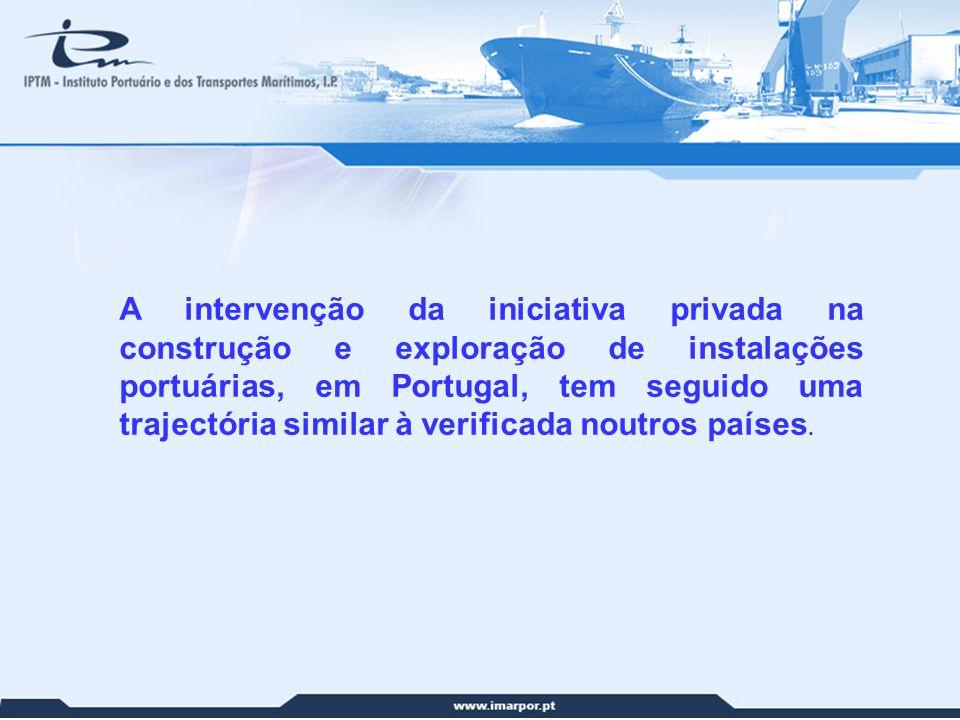 A intervenção da iniciativa privada na construção e exploração de instalações portuárias, em Portugal, tem seguido uma trajectória similar à verificada noutros países.