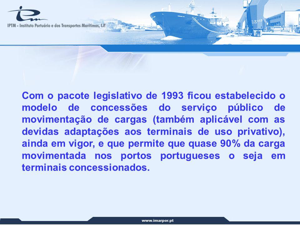 Com o pacote legislativo de 1993 ficou estabelecido o modelo de concessões do serviço público de movimentação de cargas (também aplicável com as devidas adaptações aos terminais de uso privativo), ainda em vigor, e que permite que quase 90% da carga movimentada nos portos portugueses o seja em terminais concessionados.