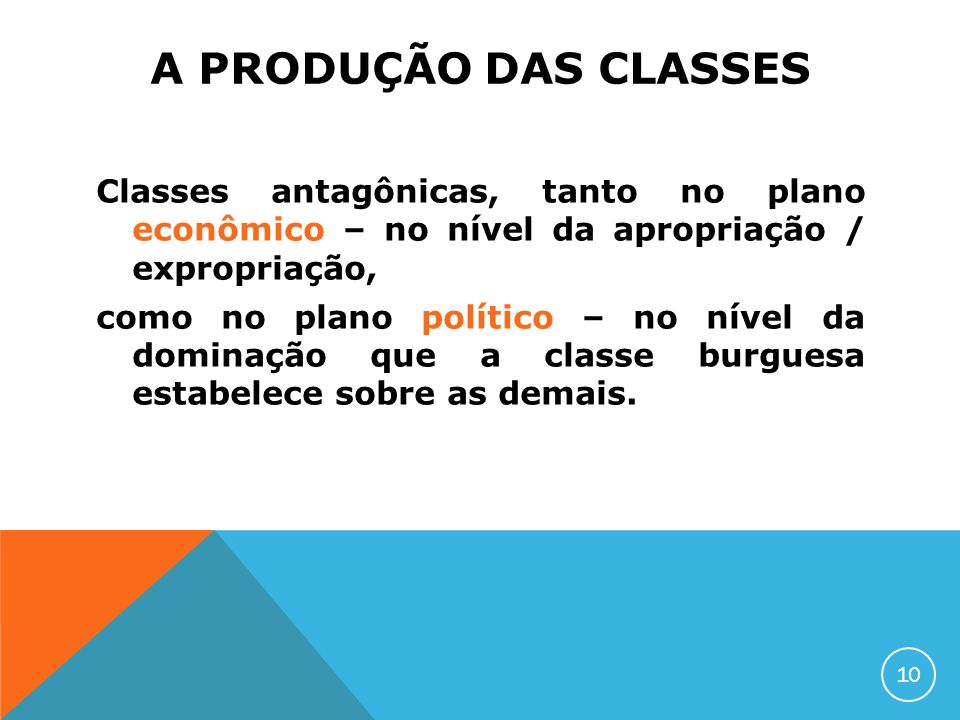 A PRODUÇÃO DAS CLASSES