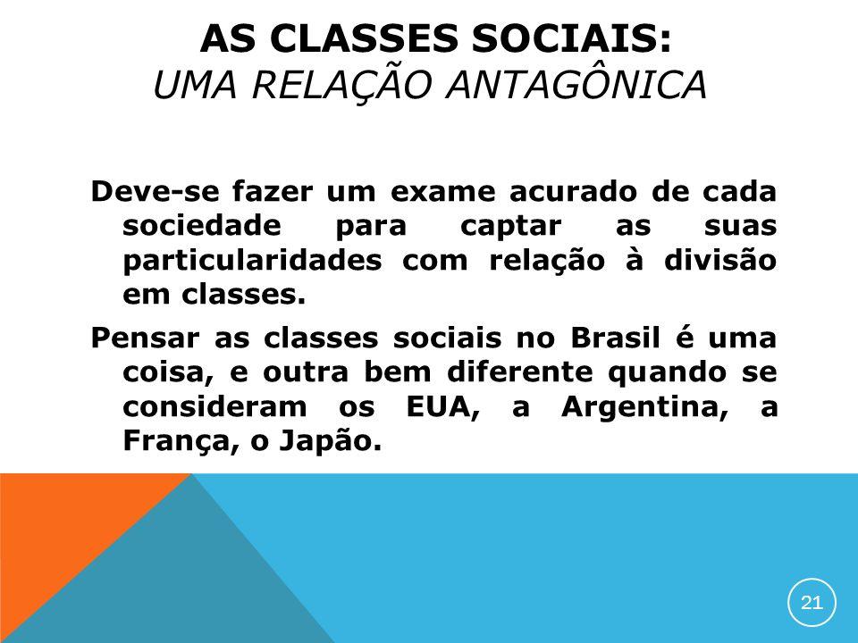 AS CLASSES SOCIAIS: UMA RELAÇÃO ANTAGÔNICA