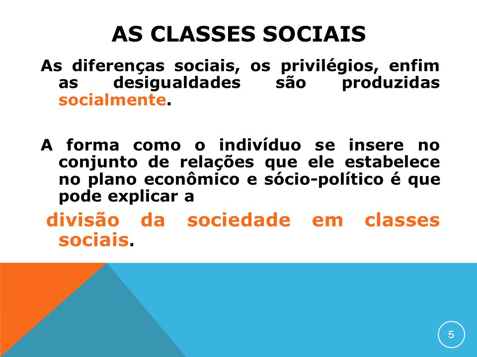 AS CLASSES SOCIAIS