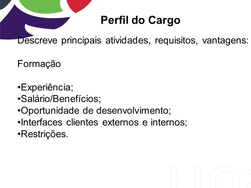 Perfil do Cargo Descreve principais atividades, requisitos, vantagens:
