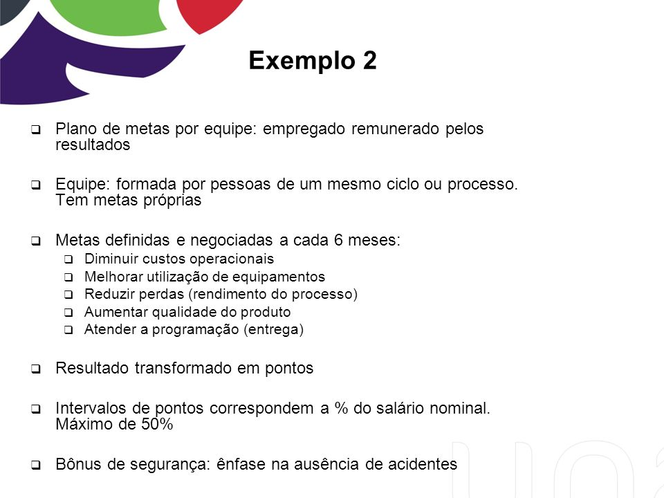Exemplo 2 Plano de metas por equipe: empregado remunerado pelos resultados.