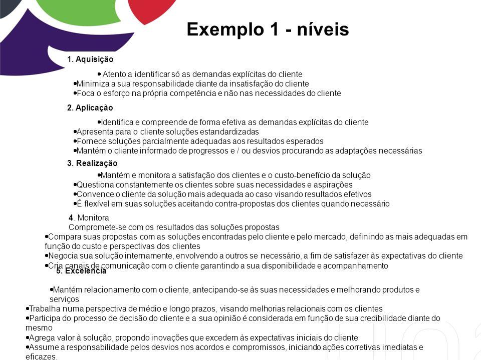 Exemplo 1 - níveis 1. Aquisição