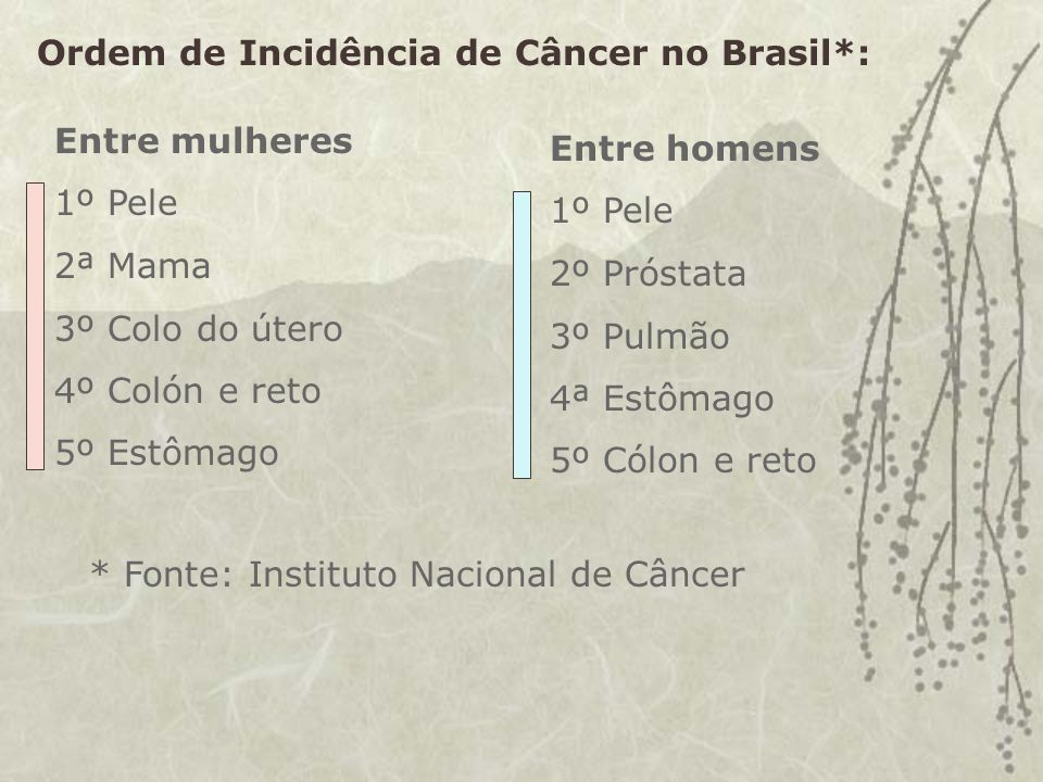Ordem de Incidência de Câncer no Brasil*:
