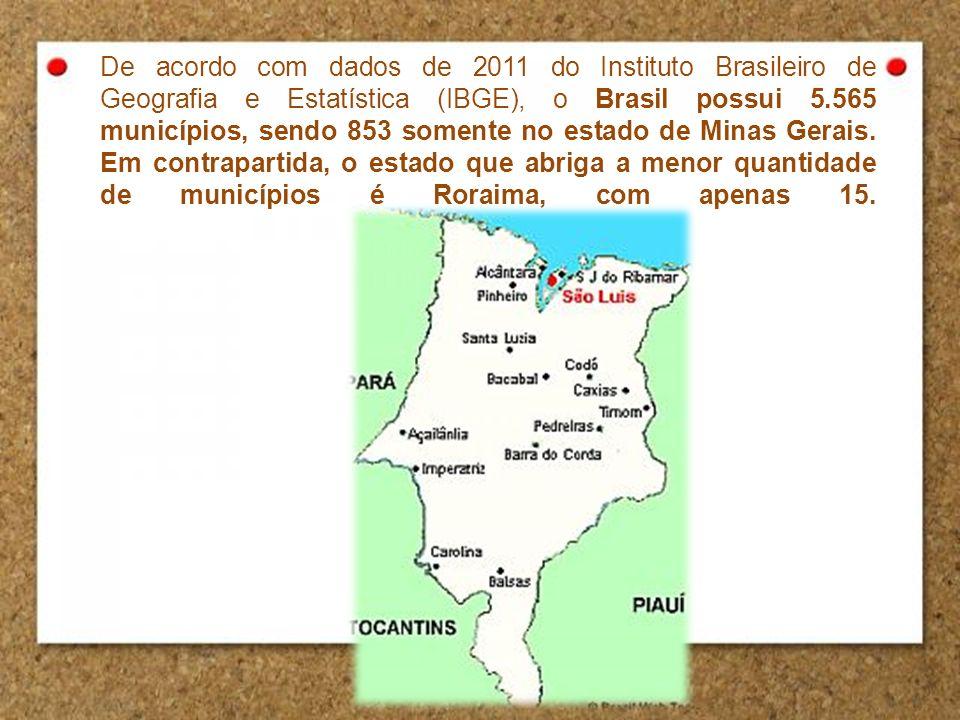 De acordo com dados de 2011 do Instituto Brasileiro de Geografia e Estatística (IBGE), o Brasil possui 5.565 municípios, sendo 853 somente no estado de Minas Gerais.