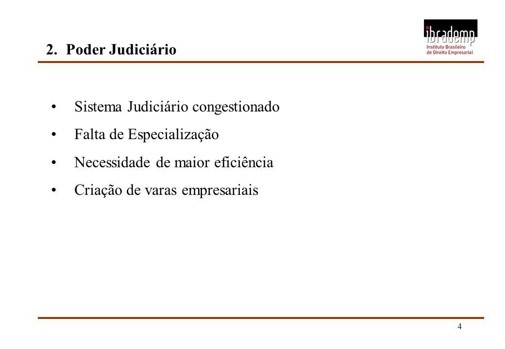 2. Poder Judiciário Sistema Judiciário congestionado. Falta de Especialização. Necessidade de maior eficiência.