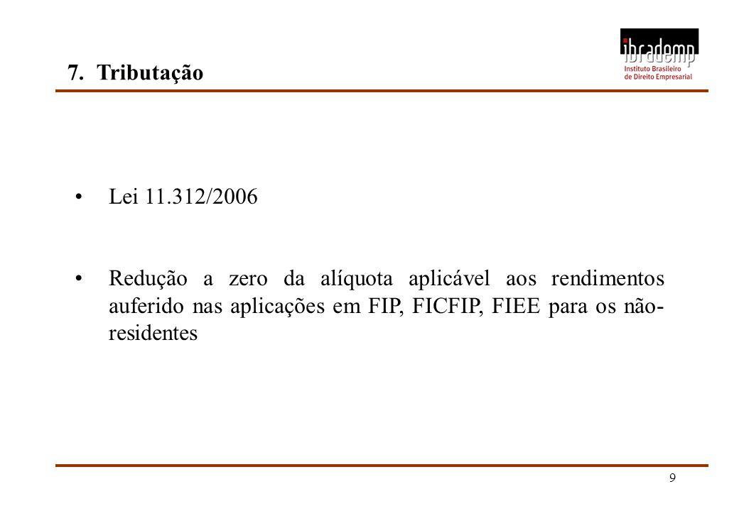 7. Tributação Lei 11.312/2006.