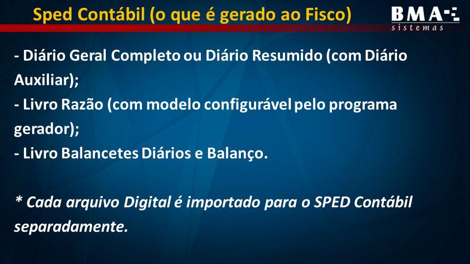Sped Contábil (o que é gerado ao Fisco)
