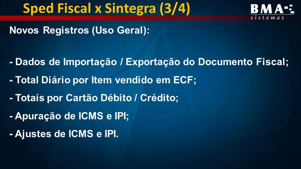 Sped Fiscal x Sintegra (3/4)