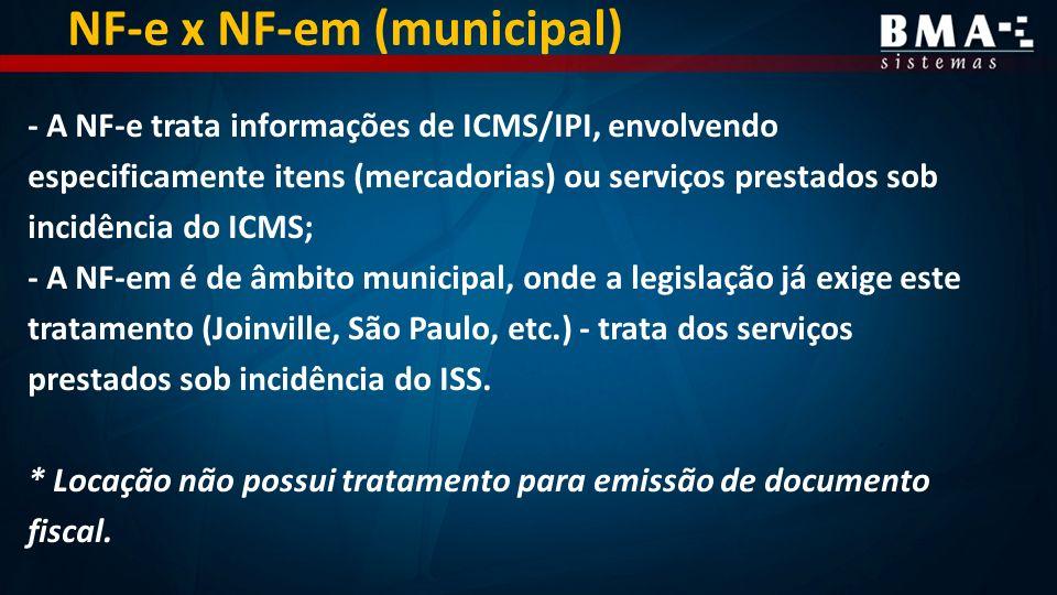 NF-e x NF-em (municipal)
