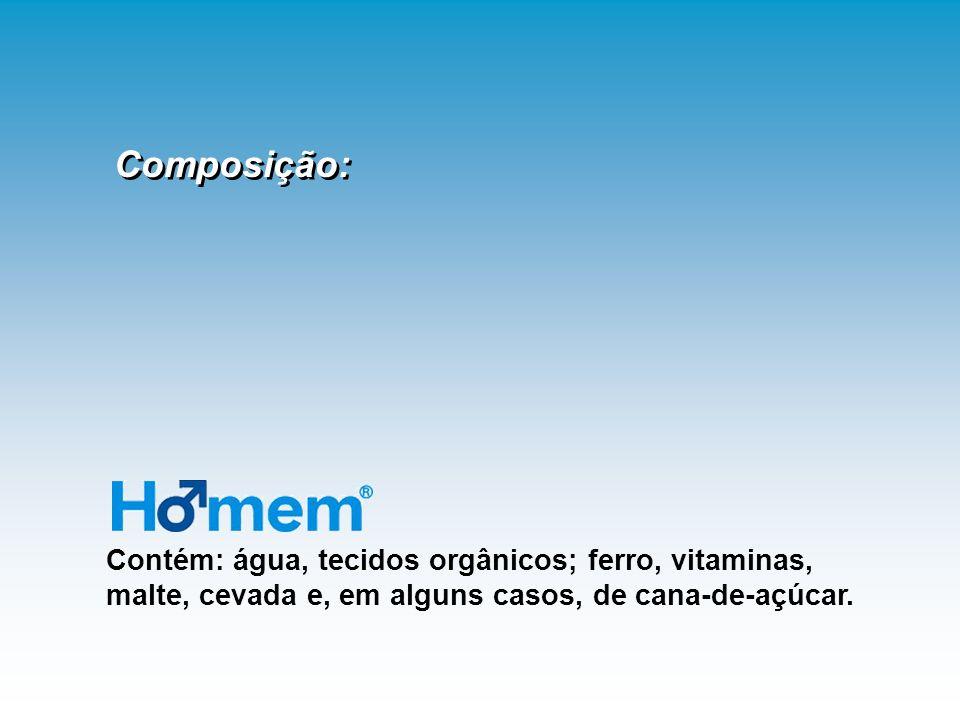 Composição: Contém: água, tecidos orgânicos; ferro, vitaminas, malte, cevada e, em alguns casos, de cana-de-açúcar.