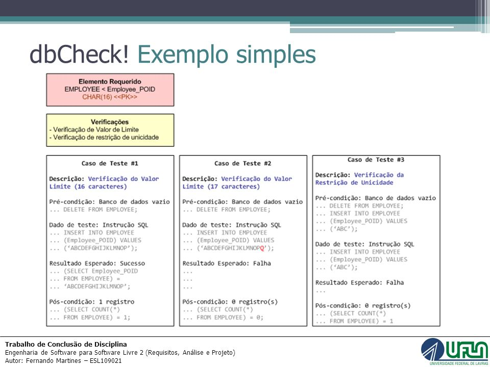 dbCheck! Exemplo simples