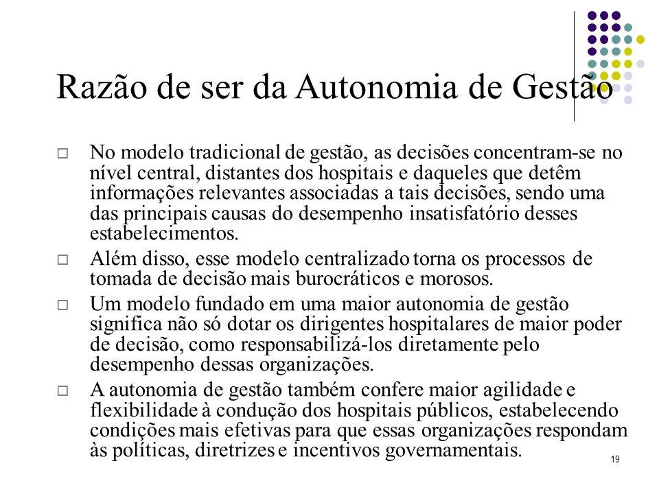 Razão de ser da Autonomia de Gestão