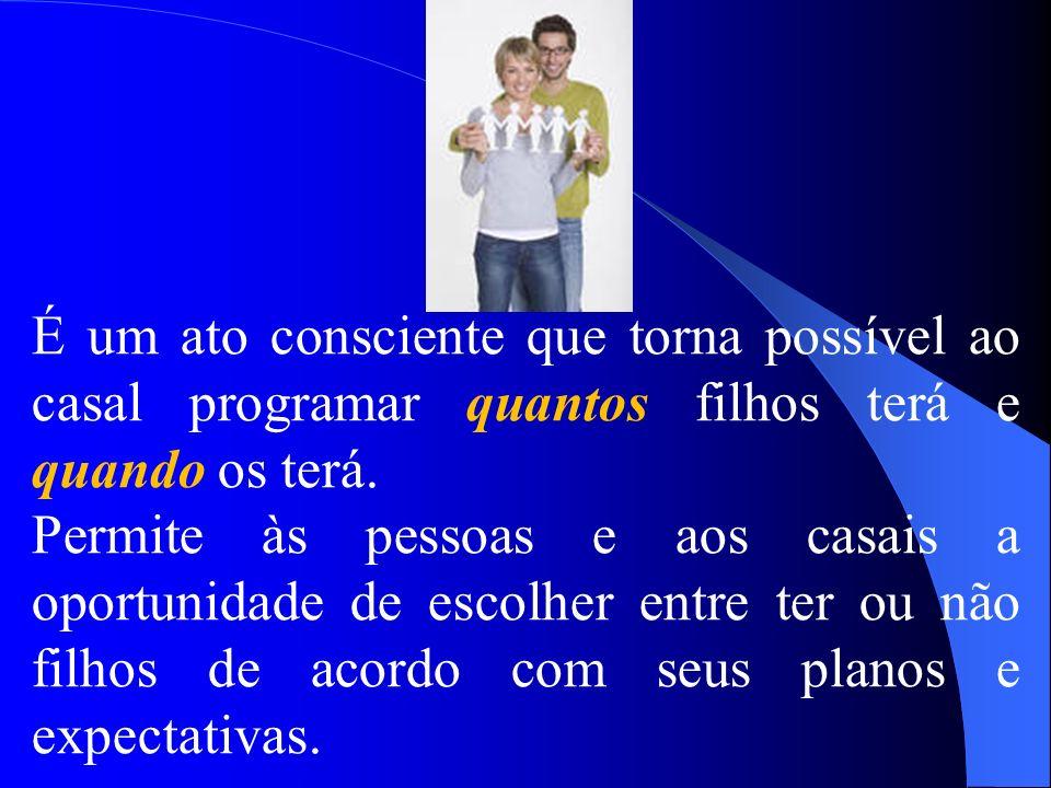 É um ato consciente que torna possível ao casal programar quantos filhos terá e quando os terá.