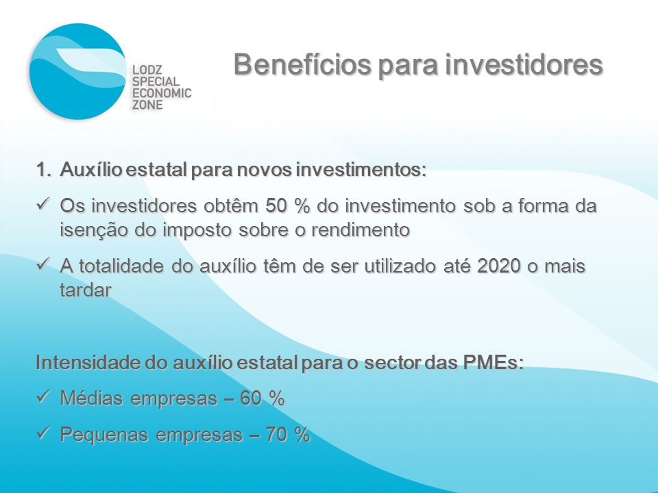 Benefícios para investidores