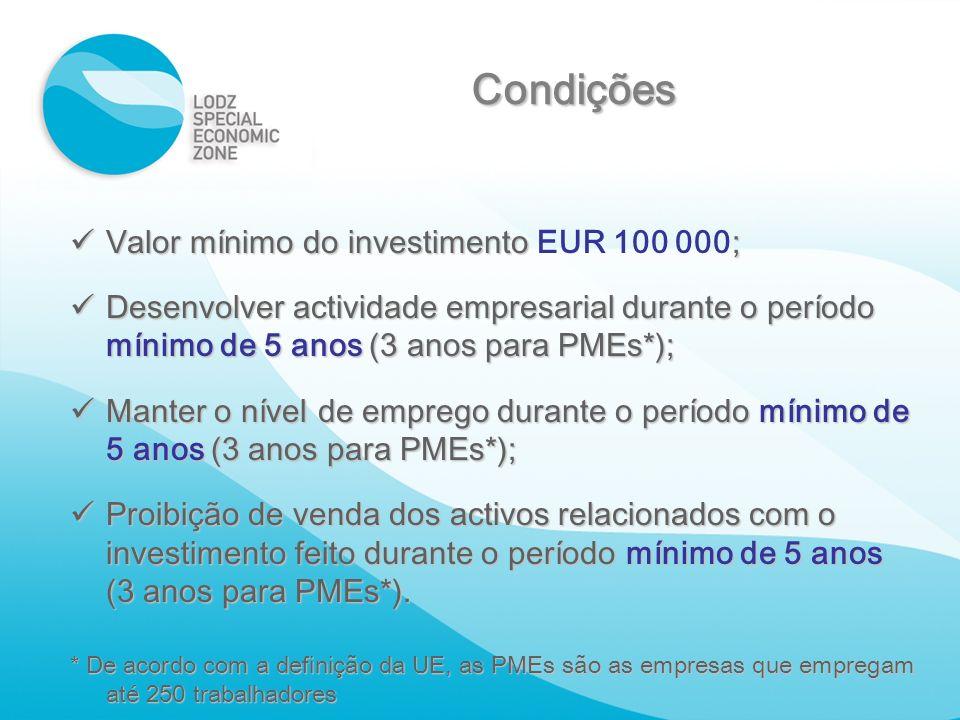 Condições Valor mínimo do investimento EUR 100 000;