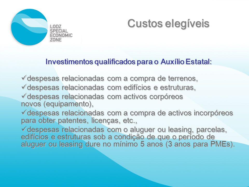 Investimentos qualificados para o Auxílio Estatal: