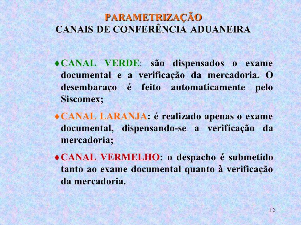 PARAMETRIZAÇÃO CANAIS DE CONFERÊNCIA ADUANEIRA