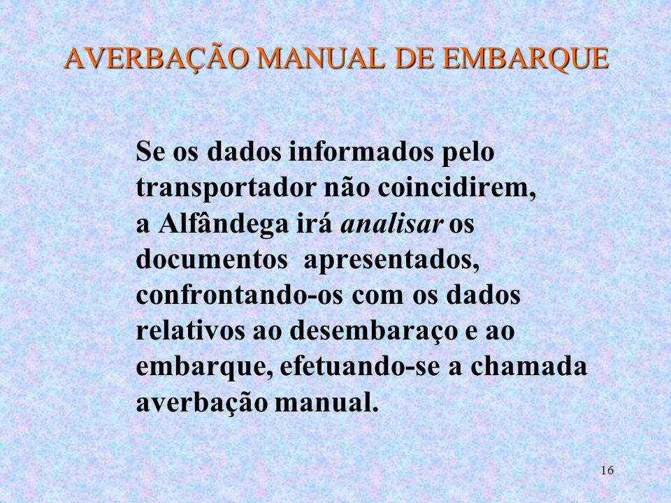 AVERBAÇÃO MANUAL DE EMBARQUE