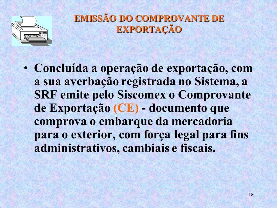 EMISSÃO DO COMPROVANTE DE EXPORTAÇÃO