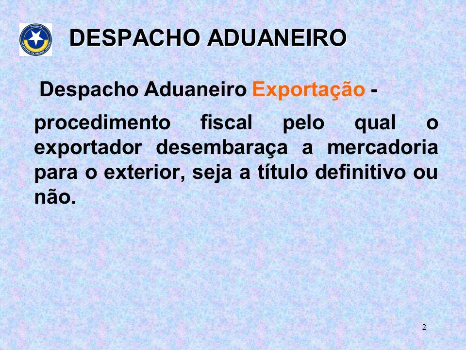 DESPACHO ADUANEIRO Despacho Aduaneiro Exportação -