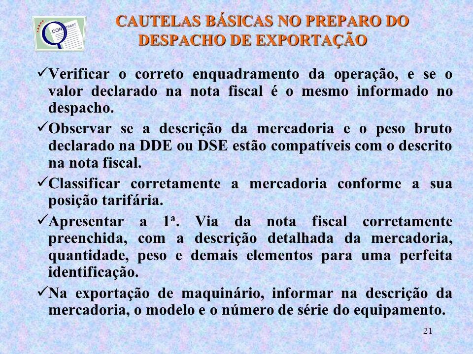 CAUTELAS BÁSICAS NO PREPARO DO DESPACHO DE EXPORTAÇÃO