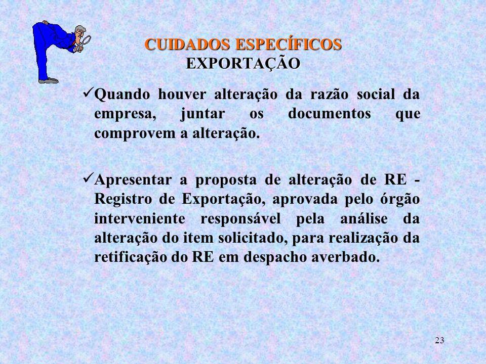 CUIDADOS ESPECÍFICOS EXPORTAÇÃO