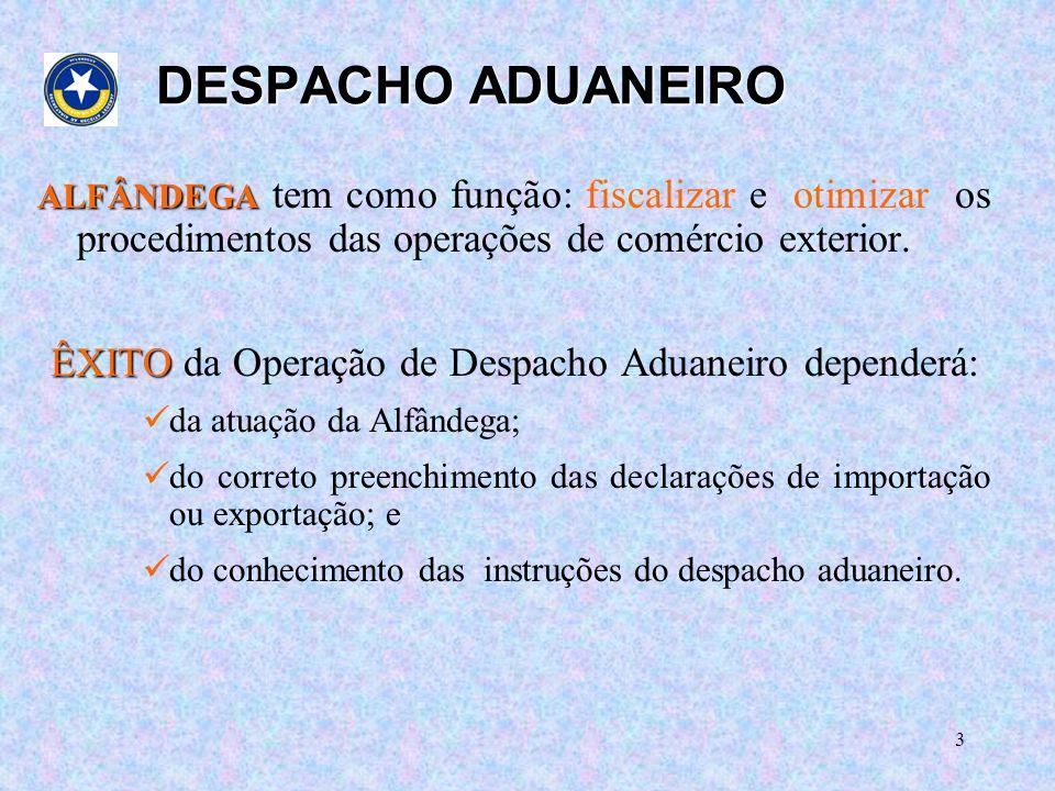 ÊXITO da Operação de Despacho Aduaneiro dependerá: