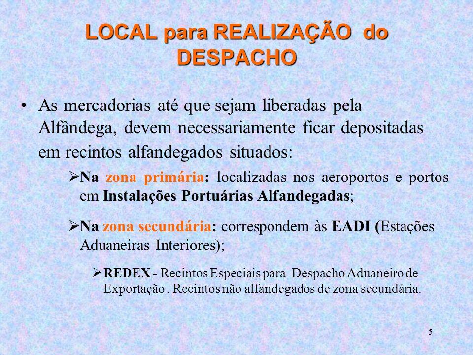 LOCAL para REALIZAÇÃO do DESPACHO