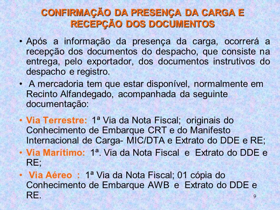 CONFIRMAÇÃO DA PRESENÇA DA CARGA E RECEPÇÃO DOS DOCUMENTOS