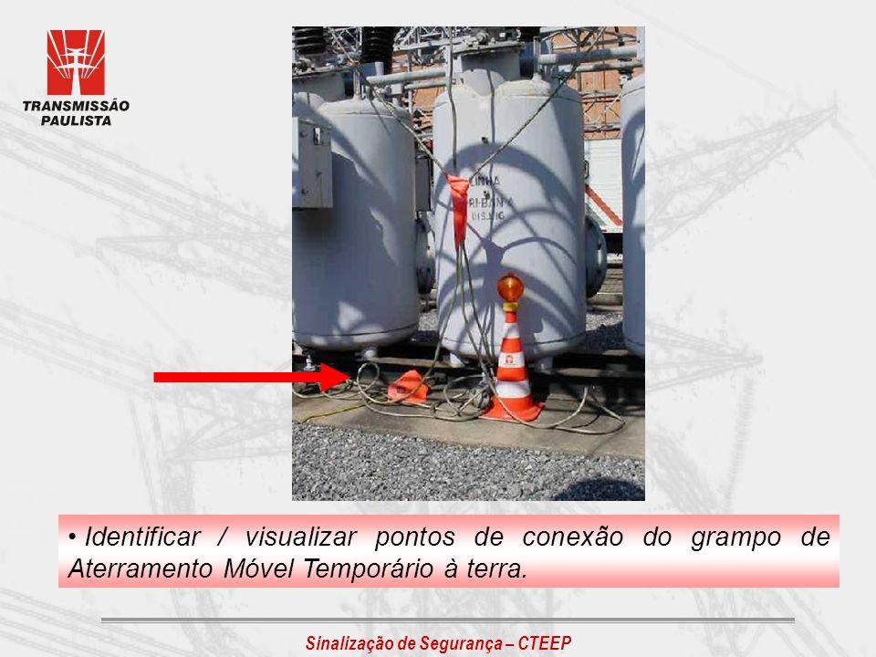 Identificar / visualizar pontos de conexão do grampo de Aterramento Móvel Temporário à terra.