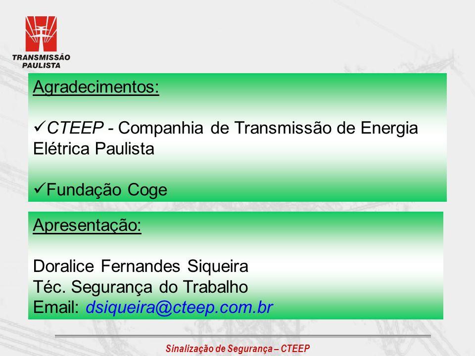 Agradecimentos: CTEEP - Companhia de Transmissão de Energia Elétrica Paulista. Fundação Coge. Apresentação: