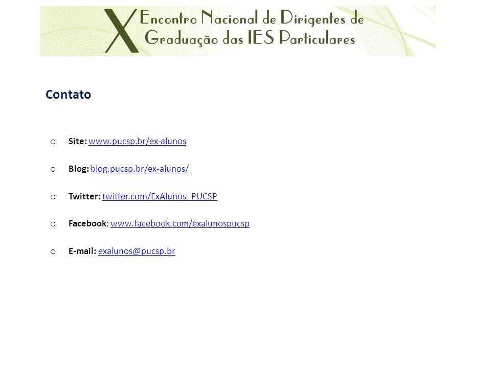 Contato Site: www.pucsp.br/ex-alunos Blog: blog.pucsp.br/ex-alunos/