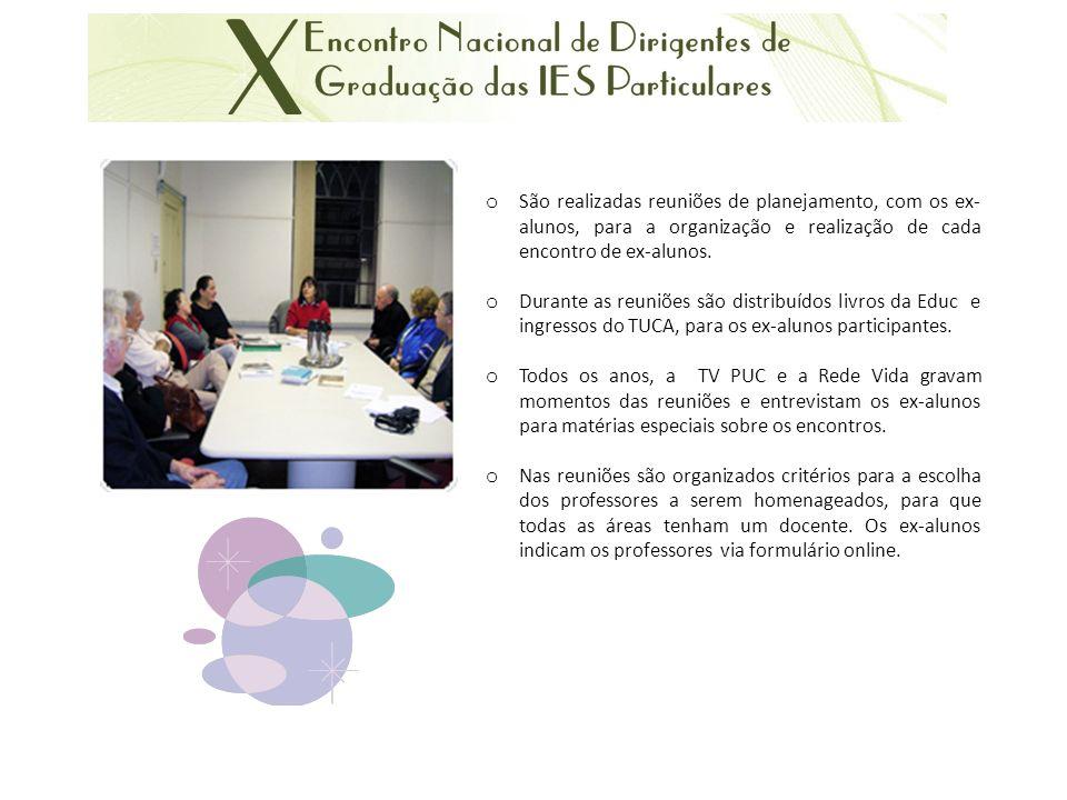 São realizadas reuniões de planejamento, com os ex-alunos, para a organização e realização de cada encontro de ex-alunos.