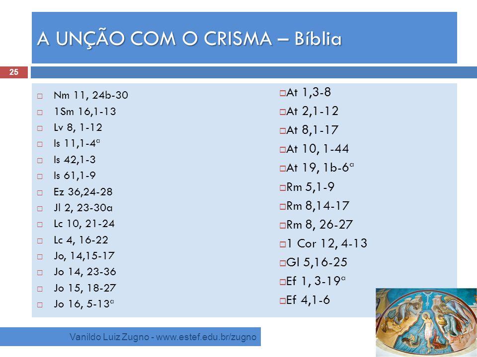 A UNÇÃO COM O CRISMA – Bíblia