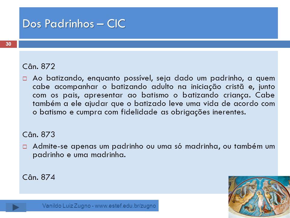Dos Padrinhos – CIC Cân. 872.