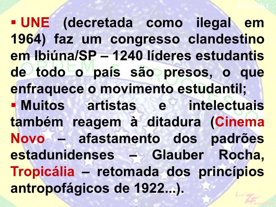 UNE (decretada como ilegal em 1964) faz um congresso clandestino em Ibiúna/SP – 1240 líderes estudantis de todo o país são presos, o que enfraquece o movimento estudantil;
