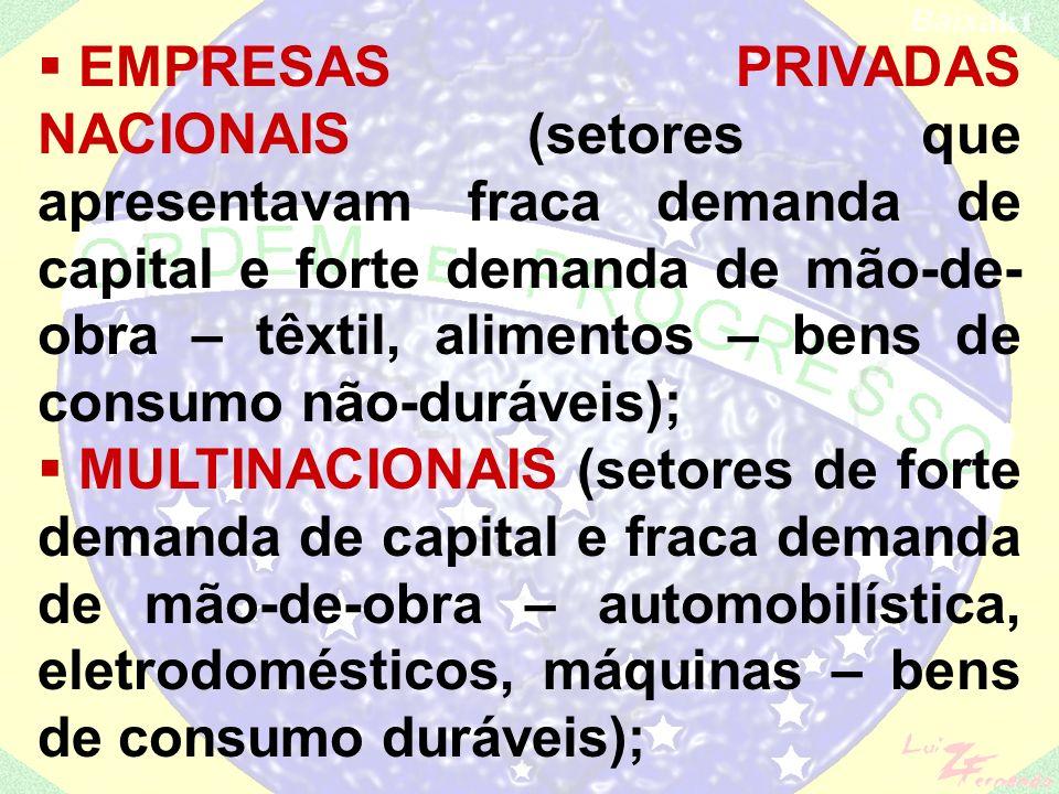 EMPRESAS PRIVADAS NACIONAIS (setores que apresentavam fraca demanda de capital e forte demanda de mão-de-obra – têxtil, alimentos – bens de consumo não-duráveis);