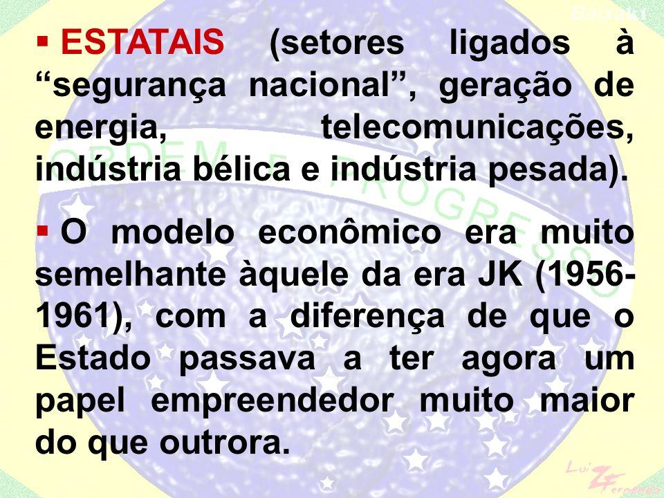 ESTATAIS (setores ligados à segurança nacional , geração de energia, telecomunicações, indústria bélica e indústria pesada).