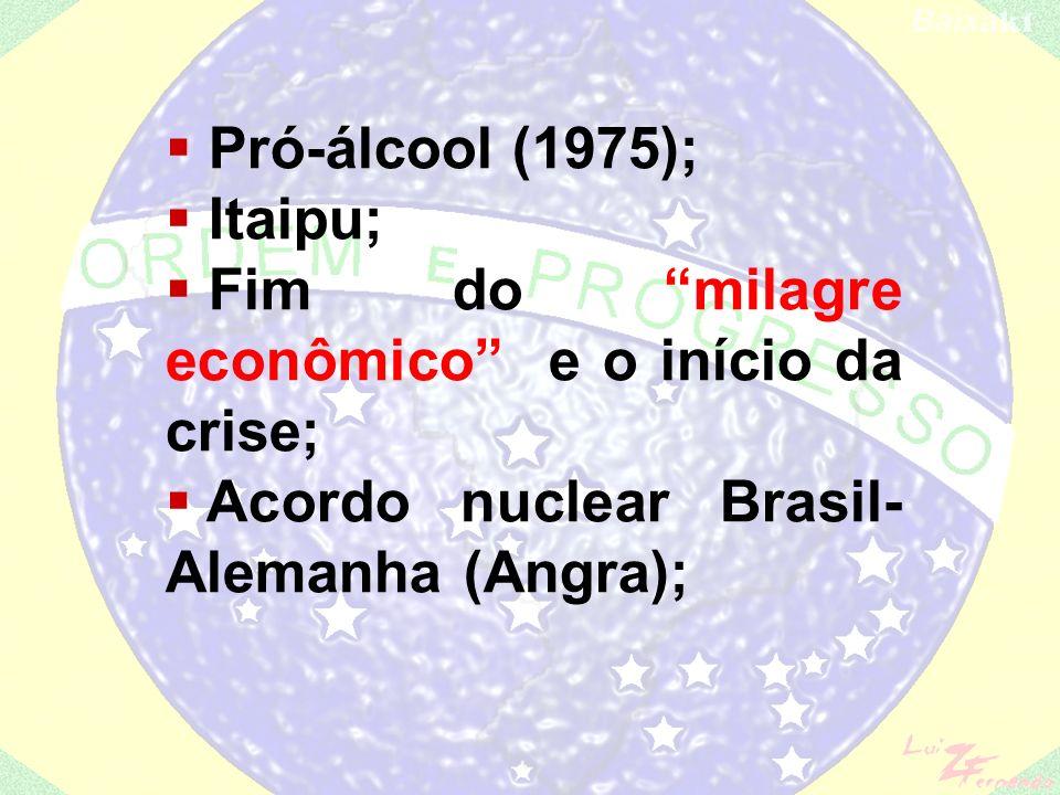 Pró-álcool (1975); Itaipu; Fim do milagre econômico e o início da crise; Acordo nuclear Brasil-Alemanha (Angra);