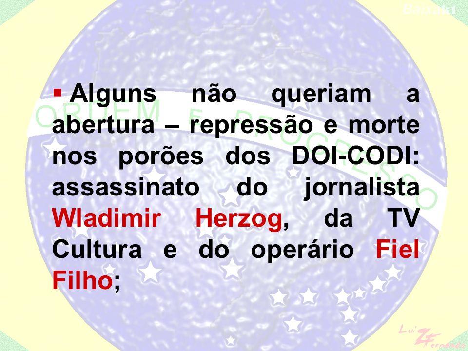 Alguns não queriam a abertura – repressão e morte nos porões dos DOI-CODI: assassinato do jornalista Wladimir Herzog, da TV Cultura e do operário Fiel Filho;